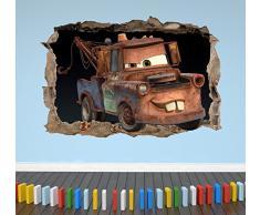 Wall Decor 247 3D Cars Mater - Adesivo da Parete per Camera da Letto per Ragazzi e Ragazze, Motivo: Paesaggio Medio, 50 cm (Larghezza) x 35 cm (Altezza).