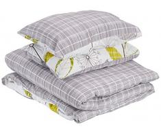 Dreamscene – Luxurious Mayfair – Set di biancheria da letto con motivo damascato, Poliestere, Crema, Singolo