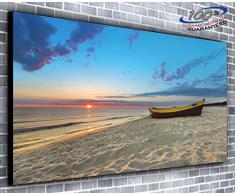 Ltd Canvas35Â Beach Boat Panoramic Soggiorno Camera da Letto Parete Stampa Artistica con Scegli la Tua Misura (139,7Â x 35,6Â cm), Tela, Multi-Colour, 91 X 38 X 4 inch