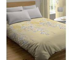 Catherine Lansfield Oriental Blossom - Set Copripiumino + Federa per Cuscino, per Letto da 90 cm, in Cotone, 160 x 220 + 50 x 110 cm, Colore: Giallo
