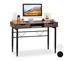 Relaxdays - Scrivania Moderna con cassetti e ripiano, Struttura in Metallo, scrivania da Ufficio HBT 77 x 110 x 55 cm, Marrone/Nero, PB, 77 x 110 x 55 cm