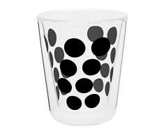 ZAK Designs 0439-C420 0550-1400 E, Bicchiere da caffè a Doppia Parete in Vetro, Colore: Nero, 20 cl