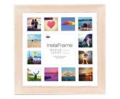 Inov Agosto 16 x 40.64 cm cornici mosaico Instaframe foto per Instagram 13/piazza e foto in bianco con bianco opaco con bordo, 2 unità, a filo al rosa