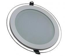 V-TAC 4744 - VT-1202G RD, lampada LED a pannello da incasso, in vetro di forma circolare, da 12 Watt, 3000 kelvin, luce bianca calda da 1080 lumen, fascio di luce da 120°, dimensioni: esterno 160 mm, altezza 40 mm, trasformatore non regolabile incluso