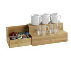 Wenko Scale di bambù per caffè e tè scaffale da cucina con cassetto, Marrone, 15x 33x 17.5cm