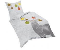 fleuresse, Set Biancheria da letto di flanella, Argento (Silber), 135 cm x 200 cm