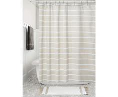 iDesign Tende per Doccia Design a Righe, Tenda per Vasca da Bagno x 183,0 cm in Cotone, Crema/Bianco