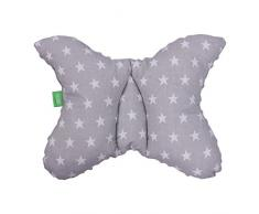 LULANDO - Cuscino per bambini per un sonno sano, 40 x 30 cm, traspirante, cuscino ergonomico per bambini, Made in EU, cuscino per passeggino con borsa Grey – White Stars/Grey
