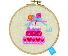 Vervaco, contati Punto Croce Kit, torta di compleanno II Aida