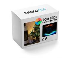 Snowera Catena Luminosa con 200 LED - Luci di Natale per Interno ed Esterno con Timer - Illuminazione per Albero di Natale con Luci Multicolore: Blu,Verde,Arancione,Rosso - Lunghezza:Ca.30M con Cavo