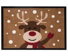 Hanse Design Home 103047Â Zerbino Zerbino Reindeer Renna, Poliammide, Marrone, 40Â x 60Â x 0.7Â cm