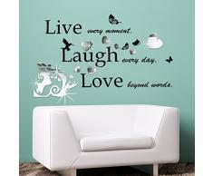 Kiss Art specchio con citazione, motivo scritta Live Laugh Love Home Salon camera, matrimoni, feste discoteca Casa caffè ristorante dellHotel entrata decorazione Adesivo da parete, carta da parati Multicolore, x110 115 cm