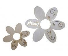 PETRA di platino-News A-MS17SR17 13 set tavolo in legno pozzo, Fiore con motivo tribale, composto da 3 menu supporto e 10 portatovaglioli