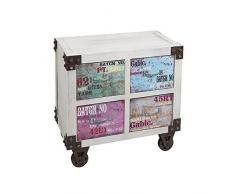BigBuy Home Comodino da notte in MDF carta (2 cassetti) (66 x 37 x 63 cm) by Craftenwood, multicolore, taglia unica
