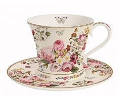 Easy Life 1357Â Bloc una tazza con piattino, Porcellana, Multicolore, 17.5Â x 17.5Â x 11Â cm