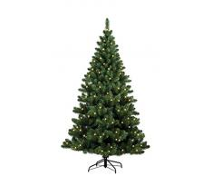 Forever Green 958935Â Auburn albero di Natale artificiale, H 180Â x D 124Â cm, PVC, con luci 200Â LED, 520Â punte di metallo, verde
