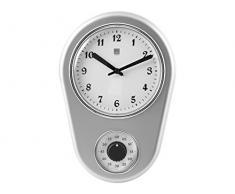 H&H Orologio Parete Silver 21Xh31 Arredo E Decorazioni Casa, Argento/Bianco, 21x31 cm