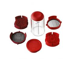 KUHN Rikon 21350 - Affettatrice a spinta per verdura e frutta, in plastica, colore: rosso