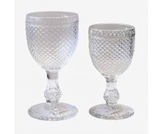 Better & Best - Picchetti in vetro da 12 pezzi per acqua + 6 calici da vino, colore trasparente, dimensioni 8,8 x 8,8 x 16,5 e 7,6 x 7,6 x 14,7 cm, materiale: vetro