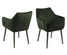AC Design Furniture - Sedia con braccioli, Colore: Verde Bosco/Marrone Scuro