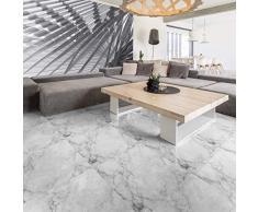 Adesivo Pavimento Piastrelle di Cemento di Marmo Bianco Antiscivolo con Laminato di Protezione in plastica, Piastrelle adesive Resistenti allAcqua, 30 x 30 cm, 1 Pezzo