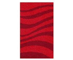 Kleine Wolke 4070468130Riga con Ritaglio, Tappeto da Bagno, Acrilico,–Tappetino WC 55x 50x 3cm, Colore: Rosso Granata
