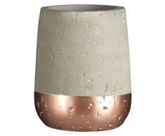 Premier Housewares Neptune Bicchiere Portaspazzolini, Calcestruzzo E Rame, Grigio, 8x8x10 cm