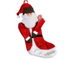 WeRChristmas - Decorazione natalizia a forma di calza con Babbo Natale e bastoncino di zucchero, alta 42 cm
