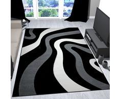 Vimoda Tappeto per Salotto, Nero grigio, design Con Onde, modello friseé, morbido contorno, taglio elastico