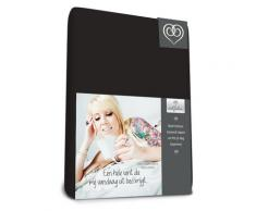 bed-fashion Topper lenzuola singolo singolo con angoli, in Jersey, colore: nero, doppio, 140Â x 200Â cm