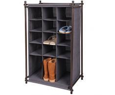 Gr8 Home Portable 5 ripiani 15 coppie griglia porta scarpe guardaroba, scarpe da ginnastica, stivali organiser cabinet stand, metallo, tessuto, grigio, 105 x 60 x 40 cm