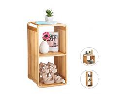Relaxdays Scaffale Aperto con Angoli Arrotondati, Mobile da Bagno con Mensole, Quadrato, bambù, Marrone, HxLxP: 64,7x33x33 cm