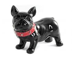 Home Bulldog Salvadanaio, Ceramica, Nero, 21x9x18 cm