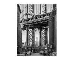 Komar - Quadro, Motivo: Ponte di Brooklyn, per Soggiorno, Camera da Letto, Decorazione, Stampa Senza Cornice Disponibile in 3 Misure, Nero, Bianco, Grigio, P123-40x50
