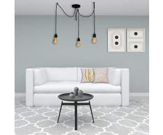 Homemania 8681515581707 Lampada a Sospensione Wire, Colore Nero, Metallo e Verniciatura T-Per Casa, Ufficio, Soggiorno, Camera Taglia Unica