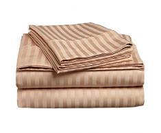 Superior - Set di lenzuola, 168 x 203 cm, da 4 pezzi, in cotone genuino a 300 fili, tasche profonde, singolo capo, righe in raso, beige