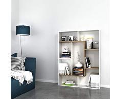 Homemania Libreria Liam Scaffale, Mobile - con Ripiani - da Salotto, Ufficio - Noce, Bianco in Legno, 100 x 22 x 136 cm