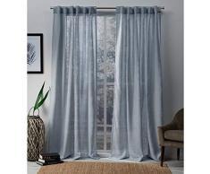 Exclusive Home Cali Tenda a Pannello Trasparente Poliestere 108/x 50/x 0.2/cm con Finestra Coppia con Asta Tascabile Blush