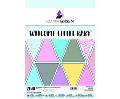 MarpaJansen 331.177-00 - Set di carta per decorazioni, moquette e finitura liscia, formato DIN A4, 10 fogli, 250 opache e 300 g/m2 lisci, linea Little Baby, multicolore, taglia unica