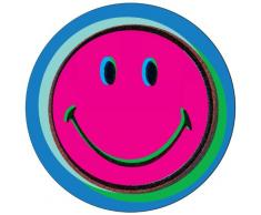 ZAK Designs 6187-1800-Set di 4 sottobicchieri in melamina, Diametro 10 cm, Motivo: Smiley, Motivo: Pop Art