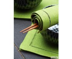 LinenMe 45 x 45 cm Set di 4 Asciugamani in Lino, Verde Foresta pluviale