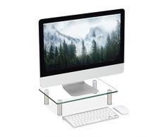Relaxdays Supporto Monitor, Alzatina per TV, Standing Computer Desk, Rialzo Scrivania, Regolabile, 38,5x24, Trasparente, Vetro, Acciaio Inox, Alluminio, 1pz