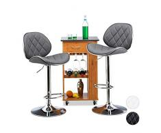 Relaxdays 10022912_111 Set 2 Sgabelli da Bar Altezza Regolabile Girevoli con Schienale in Metallo HxLxP: 111 x 47 x 47 cm Grigio
