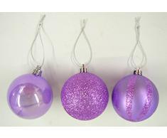 Festive Productions Ltd - Palline assortite per Albero di Natale, 60 mm, Confezione da 12, Colore: Lilla
