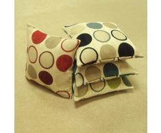 Ideal Textiles Cortez - Federa per cuscino con motivo a cerchi, 43 x 43 cm, colore beige/rosso