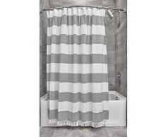 iDesign Tende per Doccia Design a Righe, Tenda per Vasca da Bagno x 183,0 cm in Cotone e Poliestere, Bianco/Grigio Scuro