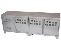 Pierre Henry Mobile TV Composto da 3 Ripiani e 2 cassetti, in Alluminio.