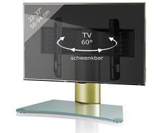 VCM - Supporto per TV da Tavolo, in Vetro Trasparente orientabile, 56 x 70 x 30 cm, Windoxa Mini Messing