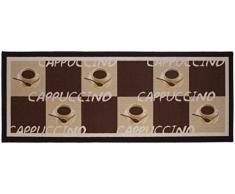 Andiamo 1100336 Tappeto da cucina, motivo cappuccino, Tappeto da cucina tazze di caffè, Oeko-Tex, 67 x 180 cm, marrone, marrone, 250x67