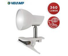 VELAMP Charly Spot Clip, Lampada Morsetto, Faretto LED con Pinza, 360 Lumen (5W) con Cavo ed Interruttore. per Camera Bimbo, Scrivania, Studio 5 W, Bianco